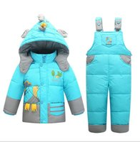 Wholesale Snowsuits Child - Kids Snowsuits Winter Down Jackets For Boys Girls Children Clothes Warm Jacket Toddler Outerwear Clothing Set Jumpsuit Costume