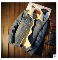 Wholesale Designer Motorcycle Jackets Men - Harley Mens Denim Jacket Rivets Jean Coat Punk Rock Washed Motorcycle Jacket Slim Fit Blue Designer Clothes winter Spring Autumn