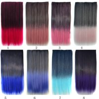 Wholesale Long One Piece Hair Extension - 1pcs Ombre Clip Synthetic Hair Extension Long Straight Kanekalon One Piece Clip In Hair Extensions 5 Clips 24 inch 115g Free Shipping