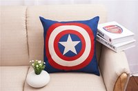 Wholesale Square Pillow Plain - Cartoon America Captain pillow case Cover Cotton Linen Throw Square Cushion Pillowcases
