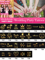 Wholesale Bachelorette and Bride Tribe Temporary Tattoos Metallic Shiny Gold Tattoos Bachelorette Party Supplies and Accessories Favors