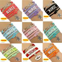 Wholesale Nursing Charms - (10 Pieces Lot) High Quality Infinity Love Nurse RN Bracelet Leather Wrap Bracelet RN LPN LVN CNA BSN Charm Best Gift for Nurse