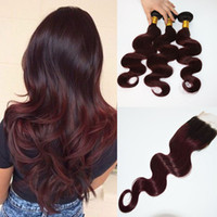 Ombre Hair 4 * 4Lace Closure With 3 Bundles 300gram Two Tone Dip Dye Burgundy 99J Body Wave Человеческие волосы убирают закрытие