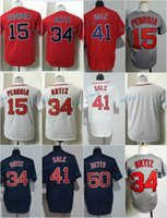 Wholesale Kids Blanks - 2017 Kids Stitched Boston Red Blank 15 Dustin Pedroia 34 David Ortiz 41 Chris Sale 50 Mookie Betts White Red Grey Youth Jersey