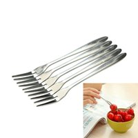 Wholesale Tooth Fruit Fork - 5Pcs Bag Stainless Steel Fruit Fork Two Tooth Dessert Fork Eating Very Convenient For People