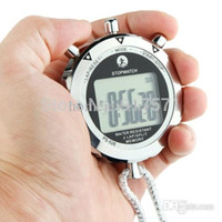 Wholesale Handheld Stopwatches - Wholesale-PS528 Metal Stopwatch Professional Chronograph Handheld Digital LCD Sports Counter Timer with Strap