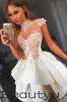 Wholesale Cheap Sexy Dresses For Juniors - Short Party Dresses For Juniors Homecoming 2018 Cheap Tiered Skirt A Line Princess Prom Gown Vintage Lace Appliques Sexy Mini Cocktail Dress