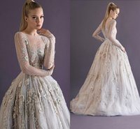 Wholesale Floral Water Picks - 2017 Paolo Sebastian Evening Dresses Illusion Long Sleeves Floral Appliques Sequins Modest Prom Party Gowns Beads Celebrity Women's Dress