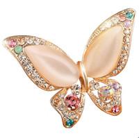ingrosso farfalle di piombo-All'ingrosso- opale farfalla spilla per le donne strass broche moda bigiotteria nozze gioielli 3 colori disponibili placcati oro senza piombo