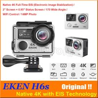 ingrosso dv telecamera remota-EKEN H6S Native 4K Full-Time EIS Ultra HD Videocamera Sport d'azione WIFI HDMI Dual screen 170 Wide Angle 14MP DV impermeabile con telecomando