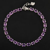 Wholesale Vintage Sterling Amethyst - Classic 100% natural amethyst bracelet made by 925 Solid Sterling Silver Vintage crystal bracelet for woman evening party jewelry