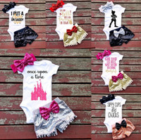 Wholesale zebra print bows - 2017 New Children outfits boys girls summer Sequins Bow headband+letter printing romper+shorts 3pcs set baby Sequins bowknot suits