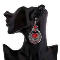 Wholesale Silver plated Gem Dangle Earrings Bohemian Big Metal Red Crystal Gypsy Ethnic Maxi Vintage Long Drop Earrings For Women Fashion Jewelry
