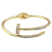 Wholesale Silver Open Bangle Bracelet - Punk Jewelry Cute Gold-Color Silver Color Rose Gold Color Personality Rhinestone Bracelet Spring Open HT Bangles And Bracelets