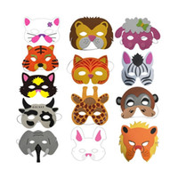 Wholesale Dress Up Costumes For Kids - Assorted EVA Foam Animal Masks for Kids Birthday Party Favors Dress Up Costume Zoo Jungle Party Supplies ZA4820