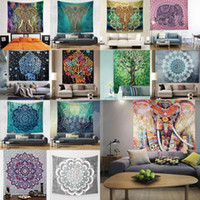 Wholesale Decorative Hang Wall - 150 * 130cm Wall Decorative Hanging Tapestries Indian Mandala Style Bedspread Ethnic Throw Art Floral Towel Beach Meditation Yoga Throw Mat