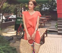 Wholesale Korea Blouse Dress - 2017 summer new Korea ladies fashion two V collar blouse open bag hip skirt suit