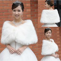 Wholesale Cheap Faux Fur Jackets - 2016 Cheap Bridal Wraps Fake Faux Fur Hollywood Glamour Wedding Jackets Street Style Fashion Cover up Cape Stole Coat Shrug Shawl Bolero