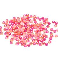 Wholesale Pearl Rose Flatback - Nail Decorations Rose RainBow Color Half Round Pearls 3mm 4mm 5mm 6mm Flatback Imitation Craft DIY Wedding Dresses Decorations