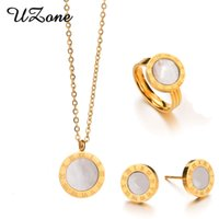 Wholesale 18k White Gold Pink - UZone Roman Numberals Jewelry Set Famous Brand Gold-color Shell Ring Earrings Necklace Set Luxury Women Jewelry