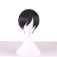 Wholesale wigs for boys resale online - Cheap Short Cosplay Hair Wigs Bob Sebastian Michaelis Side Bang Wig Heat Resistant For Men Black Synthetic Wig