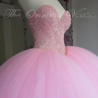 Wholesale Dresses For 15 Years - 2017 New Puffy Ball Gown Pink Quinceanera Dress 2016 Sweet 16 Dresses Beaded Sequins Sweetheart Sweet 16 For 15 Years Prom Gowns QU03