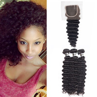 Wholesale Brazilian Lace Full Head Closure - Brazilian Deep Wave Hair Extensions 3pcs Hair Bundles with 1pc 4X4 Lace Closure for a full head Human Hair Wefts with Closure Set