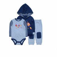 Wholesale Newborn Cardigans - Wholesale- 2017 New housing sets of boys hooded cardigan 3 pcs baby set newborn baby clothes retail