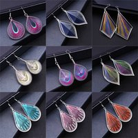 Wholesale Left Hand Thread - National style act the role ofing is tasted Hand-woven fine woven silk thread earrings Fashion exaggerated leaves female stud earrings CB102