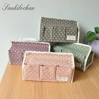 Wholesale Tissue Floral Napkins - Wholesale- Cotton Fabric Tissue Boxes Pumping Box Napkin Box Floral Seat Type Cosmetic Foldable 6 pocket Organiser Storage Bag LW0341