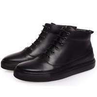Wholesale Roman Lace Dress - 2017 Luxury brand genuine leather men black ankle boots male elegant cowskin flat shoes high top business dress boots Martin boots