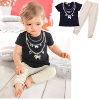 Wholesale Wholesale Horse T Shirts - Cute Girls short sleeves Tshirt 2pc suits T shirt and Pants pearl necklace bow heart horse print summer outfits sets for 1-3T