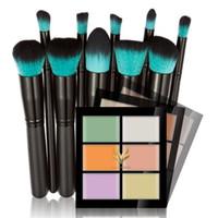 Wholesale Hair Li - Hua Mian Li Makeup Concealer Foundation cream 6 Colors Contouring Palette + 10 black handle blue makeup brush head Cosmetic brushes set dhl
