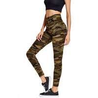pantalons femme camouflage vert achat en gros de-Camouflage Leggings Taille Haute Armée Vert Pantalon Sexy Imprimer Entraînement Stretch Fitness Legging Pantalon Femme Leggins Activewear