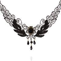 Wholesale Black Lace Rose Necklace - Choker Necklaces Lolita Delicate Lace Black Crystal Droplets Tassel Necklace For Women Black Rose Statement Necklaces