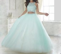 Wholesale Two Piece Elegant Quinceanera Dresses - Elegant baby blue two piece quinceanera dresses 2017 ball gown prom dresses beaded vestidos de 15 anos debutante blush pink sweet dresses