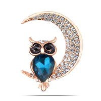 Wholesale Moon Scarf - Wholesale- cartoon rhinestone owl and moon brooches for women big crystal pins and brooches fashion jewelry scarf buckle
