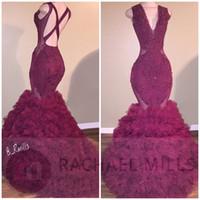 vestidos de baile vermelho de sereia corset venda por atacado-2018 Vinho Vermelho Nova Sereia Espartilho Vestidos de Baile Sexy Profundo Decote Em V Apliques Ruffle Saia Em Camadas Lace-up Recepção Do Partido Noite Pageant Vestidos