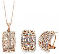 ingrosso set verde austriaco di cristallo-Set di gioielli con orecchini in cristallo austriaco placcato oro 18 carati realizzati con set di gioielli da sposa SWAOVSKI Elements Gioielli di moda