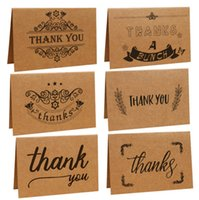 Wholesale Thanks For Birthday Gifts - Vintage Kraft Paper Thank you Greeting Cards with one Envelope for Birthday Christmas  Father's Days Mother 's Days Gifts