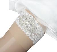 seksi bacak garters toptan satış-1 adet Set Gelin Garters Seksi Dantel Düğün jartiyer Kemer Gelin Jartiyer İnciler El Yapımı Rhinestones Vintage Dantel Düğün Gelin Bacak Garters