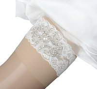 Wholesale ribbon garters resale online - 1 Set Bridal Garters Sexy Lace Wedding garter Belt Bridal Garter Pearls Handmade Rhinestones Vintage Lace Wedding Bridal Leg Garters