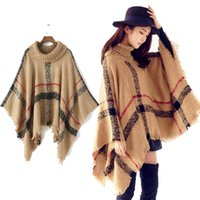 Wholesale Scarves London - Fashion Stole Long Plaid Poncho Pashmina Scarf High Neck Striped Grid Tassel Sweater Warm Shawl Women Winter London Spain Cashmere Scarves