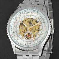esqueleto de relógio de pulso venda por atacado-JARAGAR relógios de luxo Venda Quente AUTOMÁTICO Relógio De Pulso Esqueleto de Aço Mecânico Banda Multifuncional Big Dial PRETO / branco + caixa