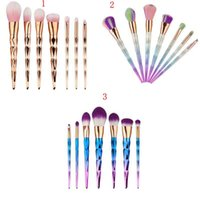 Wholesale Greens Powder Wholesale - 7Pcs Diamond Shape Makeup Brush Set Dazzle Glitter Foundation Powder Makeup Brushes Rainbow Makeup Eyeshadow Blending Brush Kit