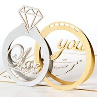 Wholesale Kirigami 3d Wedding - Wholesale- (5 piece lot)Free shipping Diamond Couple Ring Handmade 3D Kirigami Pop UP Greeting Cards Wedding Ring Cards For Valentine Day