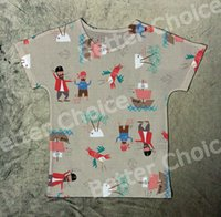 Wholesale Pirate Parrot - Track Ship + New Summer Fresh T-shirt Tee T Top Tee Cute Style Painting Pirate Sailor Ship Go to Sea with Parrot 1330