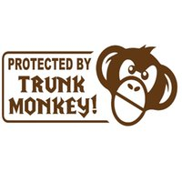 Wholesale Trunks For Motorcycles - Wholesale 10pcs lot Protected By Trunk Cartoon Monkey Happy Creative Car Sticker for Motorcycles Home Decor Vinyl Decal
