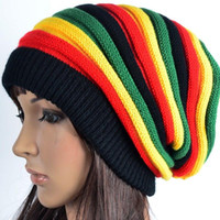 Wholesale Rainbow Knitted Hat - Fashion Unisex Elastic Reggae Knitted Beanie Skull Hat Rainbow Striped Bonnet Hats Slouchy Spring Gorro Caps For Men And Women