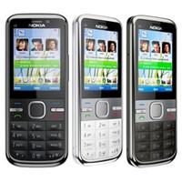Wholesale Cell Phone 3g Dhl - Refurbished Original Nokia C5-00 Unlocked Mobile Phone 3.15MP Camera 3G Bluetooth FM GPS Bar Cell Phone Free DHL 10pcs